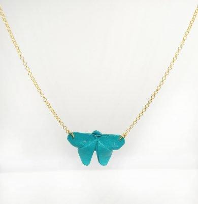 collar mariposa chapada en oro turquesa
