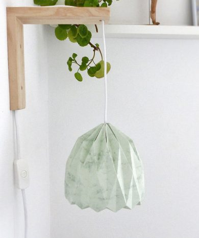 decoración lámpara de pared de papel verde