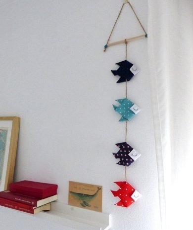 moviles decorativo de tela peces azul